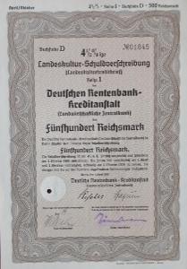 DEUTSCHE RENTENBANK KREDITANSTALT, BERLIN, 500 RM, 1937, 1845