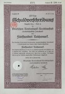 DEUTSCHE RENTENBANK KREDITANSTALT, BERLIN, 500 RM, 1934, 1110