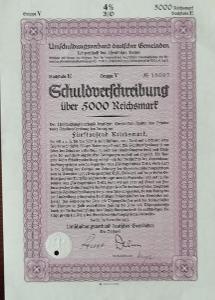 UMSCHULDUNDSVERBAND DEUTSCHER GEMEINDEN, BERLIN, 5000 RM, 1933, 16097