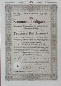 DEUTSCHE WOHNSTÄTTEN HYPOTHEKENBANK AG., BERLIN, 1000 RM 1942, 5967