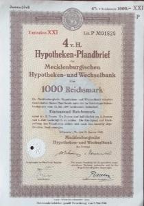 MECKLENBURGISCHE HYPO UND WECHSELBANK, SCHWERIN, 1000 RM, 1943, 1825