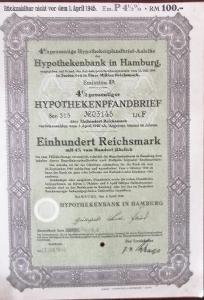 HYPOTHEKENBANK IN HAMBURG, HAMBURG, 100 RM, 1940, 3145