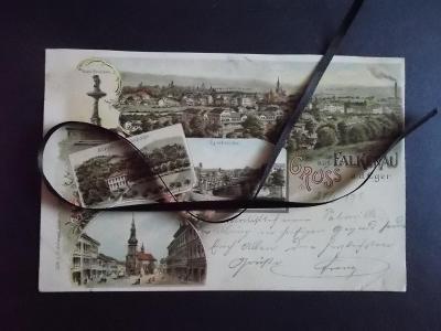 Karlovy Vary Cheb Eger Sokolov Falkenau koláž litografie střelnice