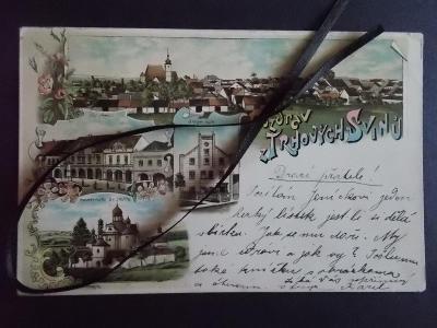 České Budějovice Budweis  Trhové Sviny koláž litografie Strojní mlýn
