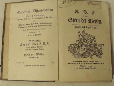 A B C von Stein der weisen (kniha hermetismus, okultismus, magie 1779)