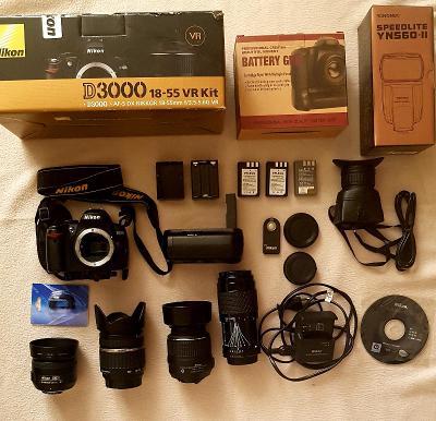 Nikon D3000 + bohaté příslušenství