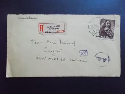 Válka dopis R nálepka Holandsko Nizozemí Praha cenzura razítko 1944
