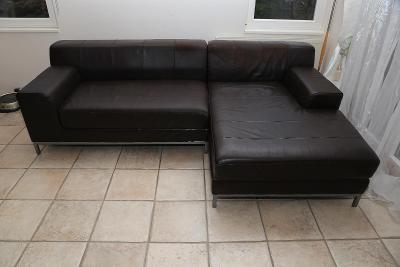 Kožená tmavě hnědá sedačka
