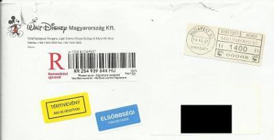 Obálka Budapest s R-nálepkou, páskou s výplatným a 2 dalšími nálepkami