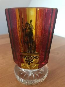 Biedermeier sklenice, čiré sklo, červená a žlutá lazura a malba
