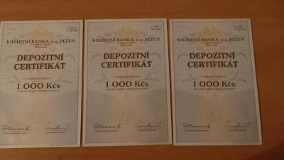 Depozitní certifikáty - Kreditní banka Plzeň 3x