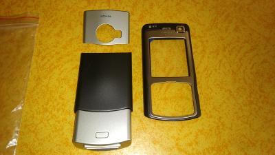 Nepoužitý přední a zadní kryt na Nokia N70 stříbrno/černý