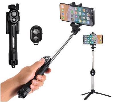 Selfie tyč stativ s bluetooth ovladačem 3v1 AUKCE od 1 kč