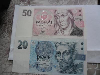 50 Kč.1993 AO 3 + 20 Kč. 1994 B 44  UNC z Banky.!
