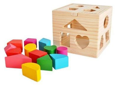 Vkládací kostky DŘEVĚNÉ KOSTKY krabička  + dárek