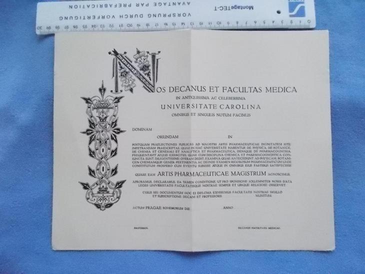 Karlova Univerzita Praha školství čistý diplom starý blanket titul  - Antikvariát