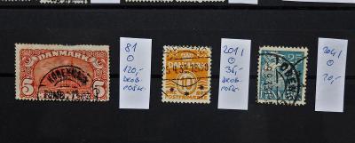 DÁNSKO DANMARK CENNÉ Mi 81, 201 I, 204 I RAZÍTKOVANÉ KAT. 175 EUR