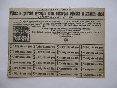Výkaz o spotřebě syrových tuků, celý arch, 7.12.1917-3.1.1918, Praha