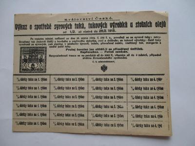 Výkaz o spotřebě syrových tuků, celý arch, 1.2.-28.2.1918, Praha