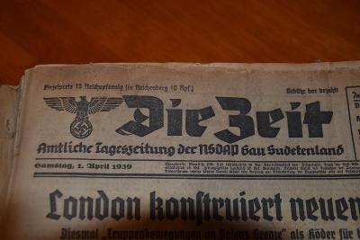 DIE ZEIT - Německo - Vázané noviny od 1.Dubna 1939 do 16.Května 1939
