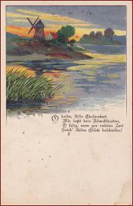 Větrný mlýn * krajina, báseň, umělecká, gratulační * M3605