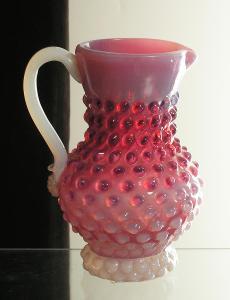 Staré ruční sklo - Opál a červené - (K69)