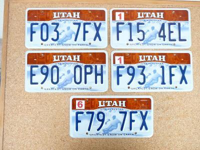 USA SPZ, 5x Utah značek originál...