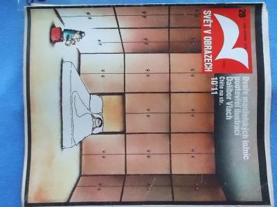 Časopis Svět v obrazech  1990 Humor z ložnic Komiks Černá Světice