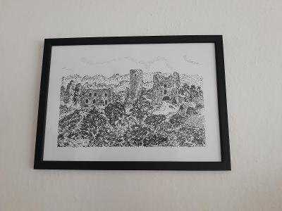 Rokštejn - zřícenina hradu - perokresba