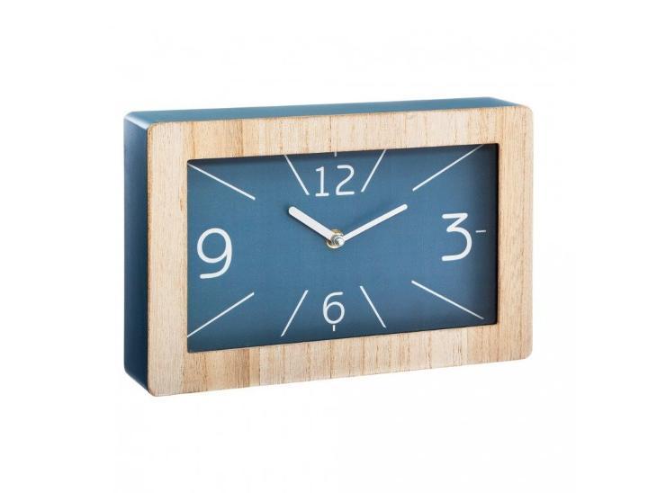 Dřevěné stolní hodiny v modré barvě, 30 x 19 cm - Zařízení