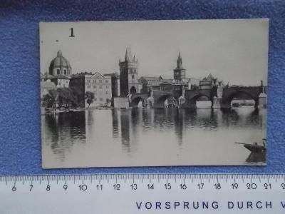 Praha Karlův most Vltava Návrh na pohlednici bez linek