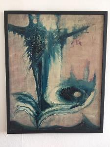 Nádherný, Velký, Surrealistický Obraz - Olej na Sololitu, Signatura !!