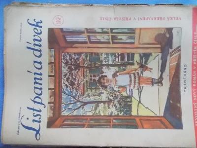 Starý časopis Lit paní a dívek 1934 móda vaření reklama vystřihovánky