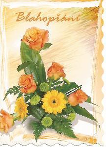 Blahopřání, STIVA růže zdobený okraj 3-457** nepoužitá