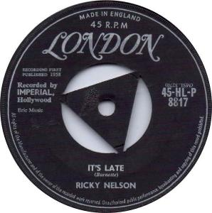 RICKY NELSON - IT´S LATE 1958