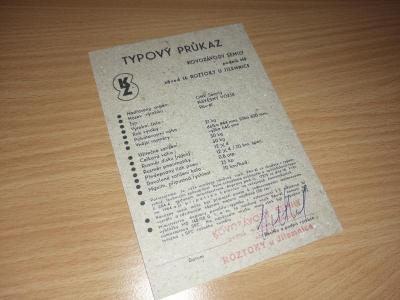 Typový list - kartička - doklad - průkaz Pav 41