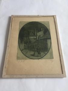 Nádherná, Starožitná Grafika, Lept - V. Vayer - Večerní Dostaveníčko