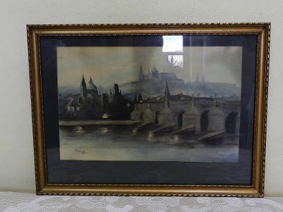 Hradčany Pražský Hrad Praha Signováno