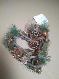 Srdce z větviček Vánoční závěsné hnědo-zlaté 24 cm ( BC 299 Kč )