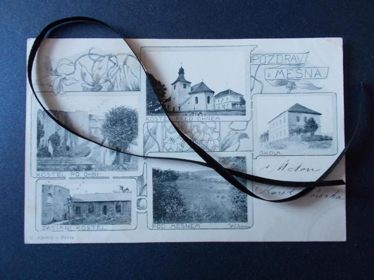 Rokycany Spálené Poříčí Mešno kostel požár oheň katastrofa koláž DA - Pohlednice
