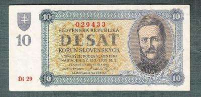 Slovensko 10 ks 1943 serie Ďi29 NEPERFOROVANA