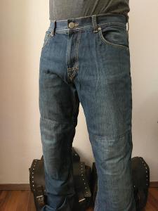 Kvalitní moto kalhoty iXS - kevlarové džíny, vel. 32/34, modré