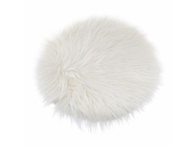 Plastový polštář z kožešiny, Ø 32 cm, bílý