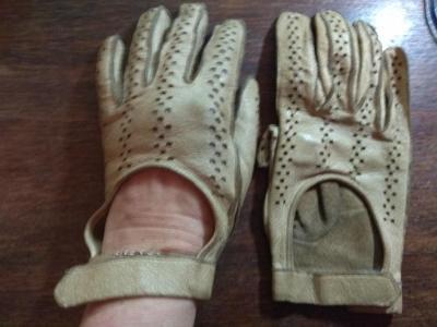 Dámské kožené rukavice motoristické - na veterána, 1 pár