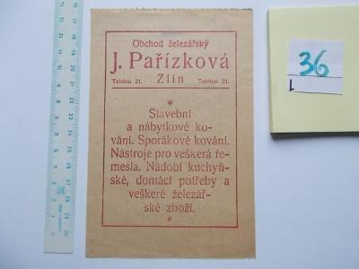 účet č.36 - Pařízková, Zlín - r.1932