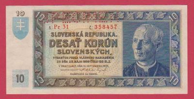 10 Ks z 15.9.1939 s.Pr 31,č.358457 ,luxusní, stav UNC, specimen nahoře