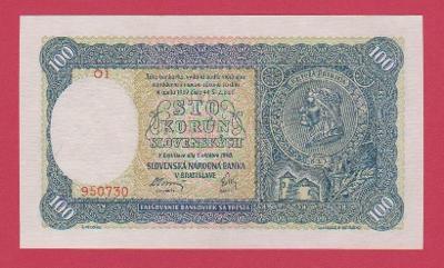 100 Ks ze 7.10.1940, I.vydání, série O1,č.950730, NEPERFOR., stav UNC