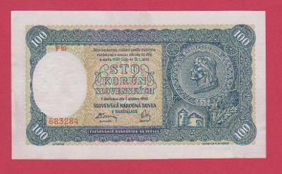 100 Ks ze 7.10.1940, I.vydání, série F 10,č.683284 NEPERF., stav aUNC