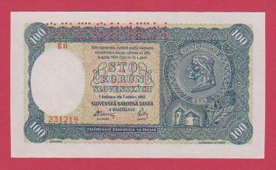 100 Ks ze 7.10.1940, I.vydání, série E 11,č.231219., SPECIMEN stav UNC