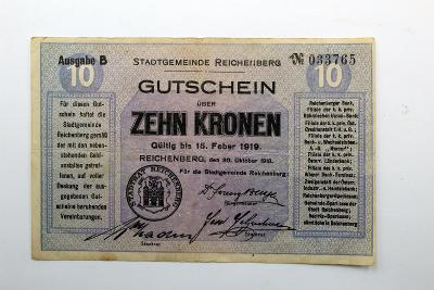10 KRONEN Reichenberg 1919   /F79/
